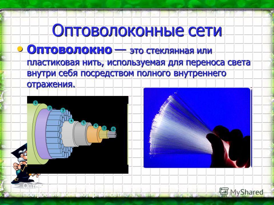 Оптоволоконные сети Оптоволокно это стеклянная или пластиковая нить, используемая для переноса света внутри себя посредством полного внутреннего отражения. Оптоволокно это стеклянная или пластиковая нить, используемая для переноса света внутри себя п