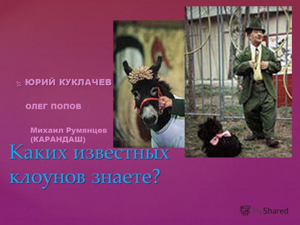ЮРИЙ КУКЛАЧЕВ ЮРИЙ КУКЛАЧЕВ Каких известных клоунов знаете? ОЛЕГ ПОПОВ Михаил Румянцев (КАРАНДАШ)