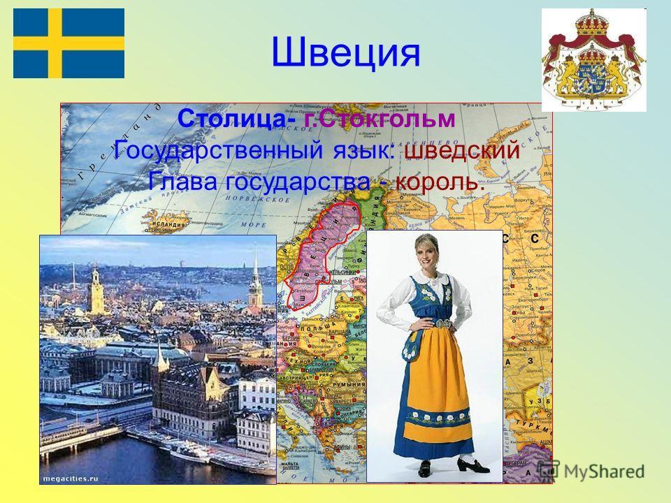 Швеция Столица- г.Стокгольм Государственный язык: шведский Глава государства - король.