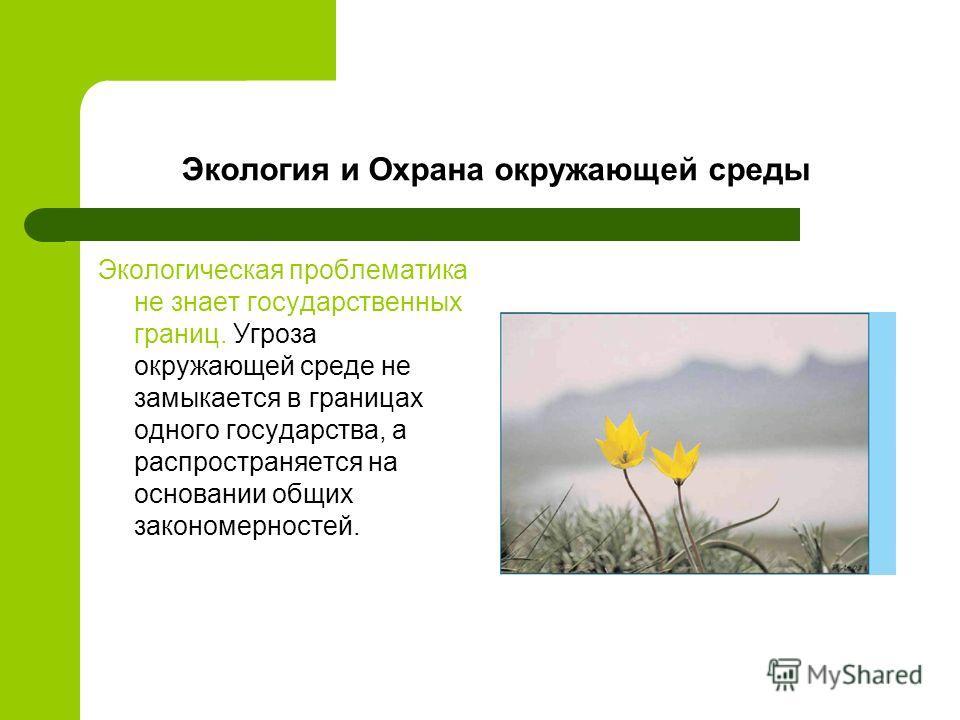 Экология и Охрана окружающей среды Экологическая проблематика не знает государственных границ. Угроза окружающей среде не замыкается в границах одного государства, а распространяется на основании общих закономерностей.
