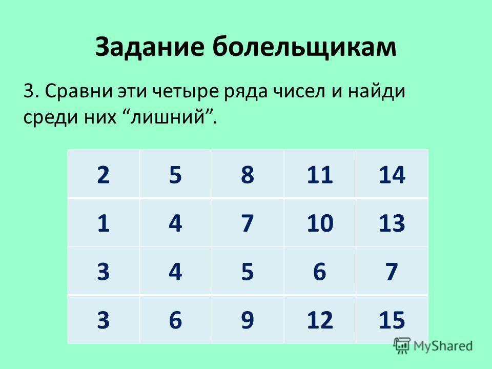 Задание болельщикам 3. Сравни эти четыре ряда чисел и найди среди них лишний. 2581114 1471013 34567 3691215