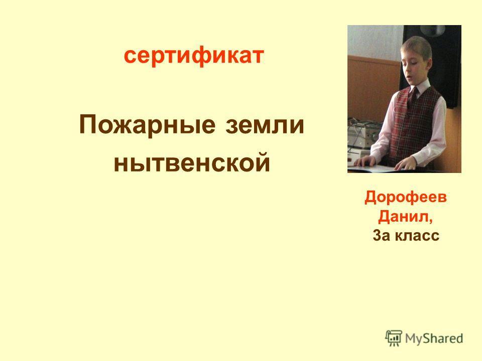 Пожарные земли нытвенской Дорофеев Данил, 3а класс сертификат