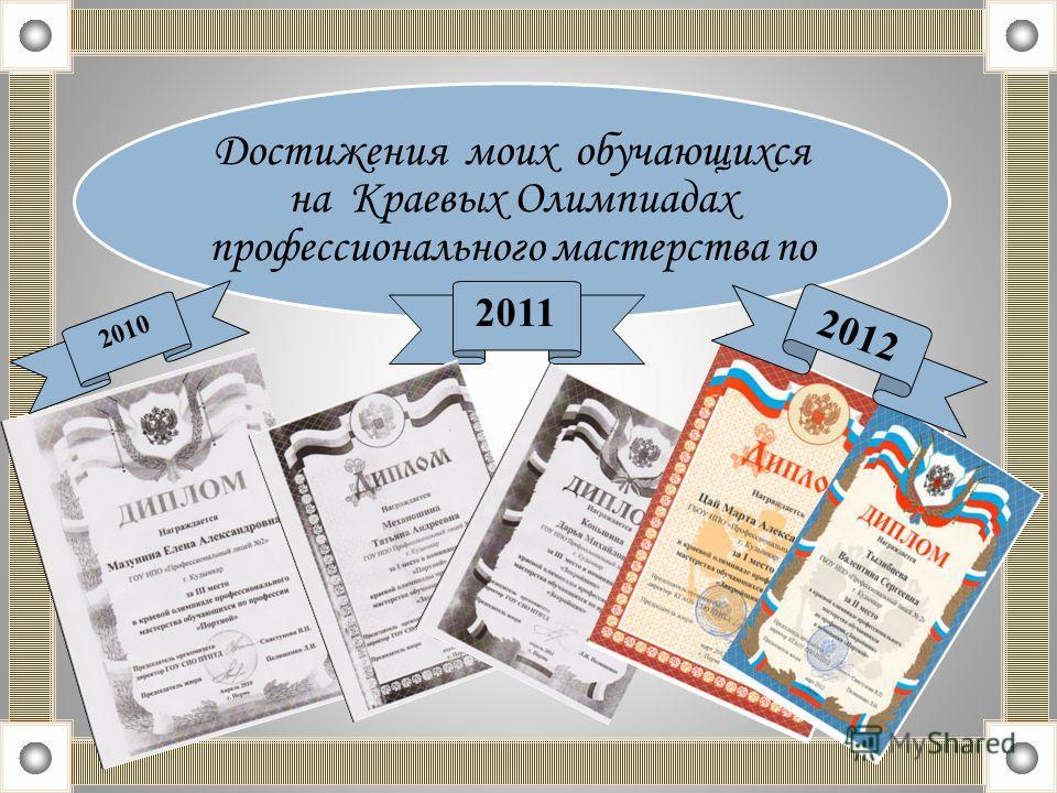 Достижения моих обучающихся на Краевых Олимпиадах профессионального мастерства по 2010 2011 2012