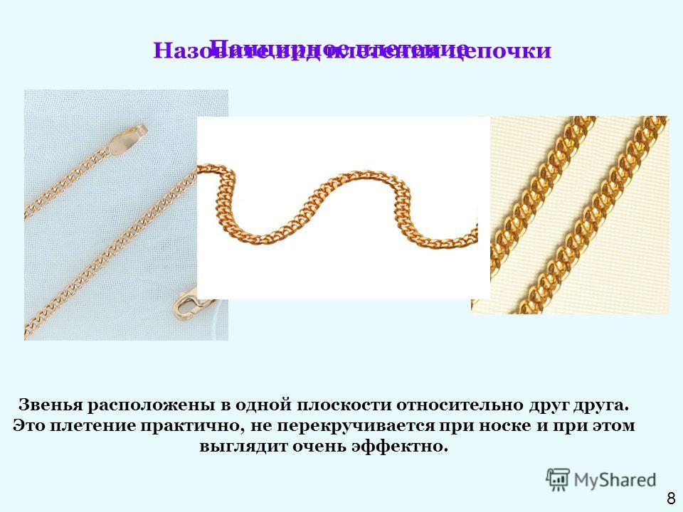 Назовите вид плетения цепочки Звенья расположены в одной плоскости относительно друг друга. Это плетение практично, не перекручивается при носке и при этом выглядит очень эффектно. Панцирное плетение 8