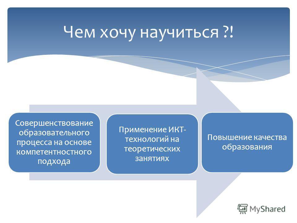 Чем хочу научиться ?! Совершенствование образовательного процесса на основе компетентностного подхода Применение ИКТ- технологий на теоретических занятиях Повышение качества образования
