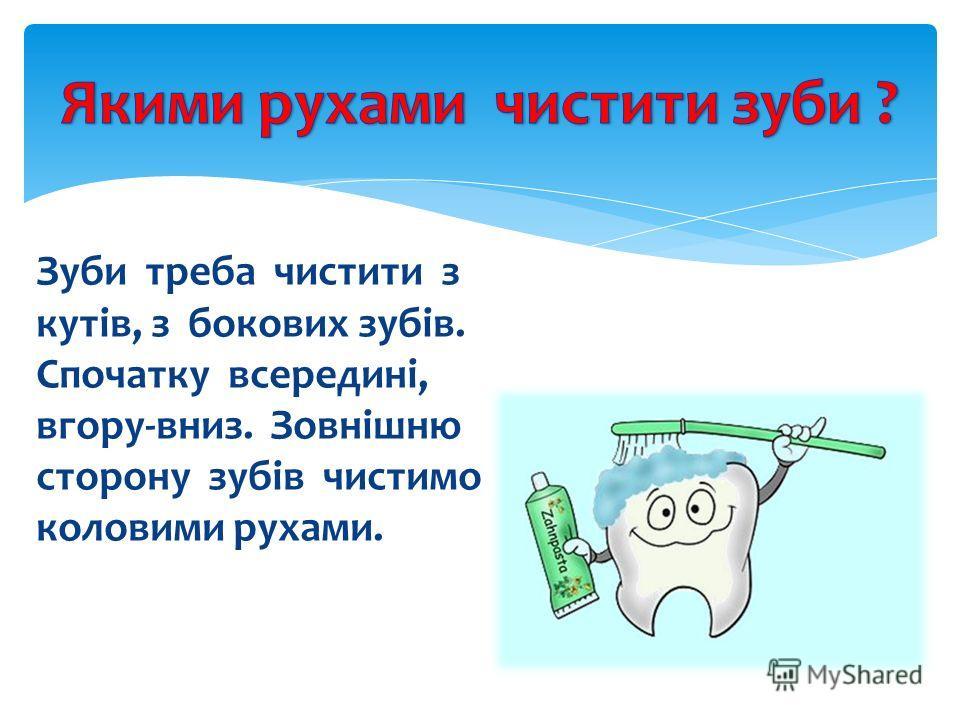 Зуби треба чистити з кутів, з бокових зубів. Спочатку всередині, вгору-вниз. Зовнішню сторону зубів чистимо коловими рухами.