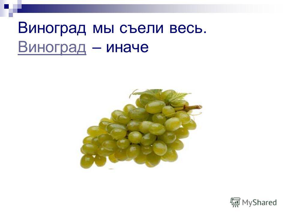 Виноград мы съели весь. Виноград – иначе Виноград