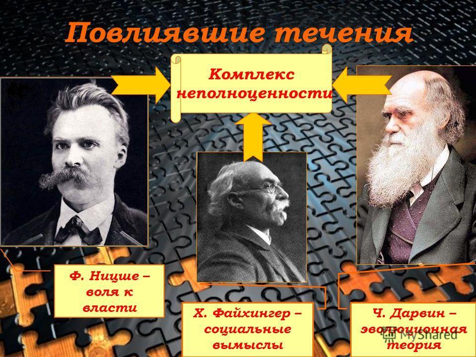 Повлиявшие течения Ф. Ницше – воля к власти Ч. Дарвин – эволюционная теория Х. Файхингер – социальные вымыслы Комплекс неполноценности