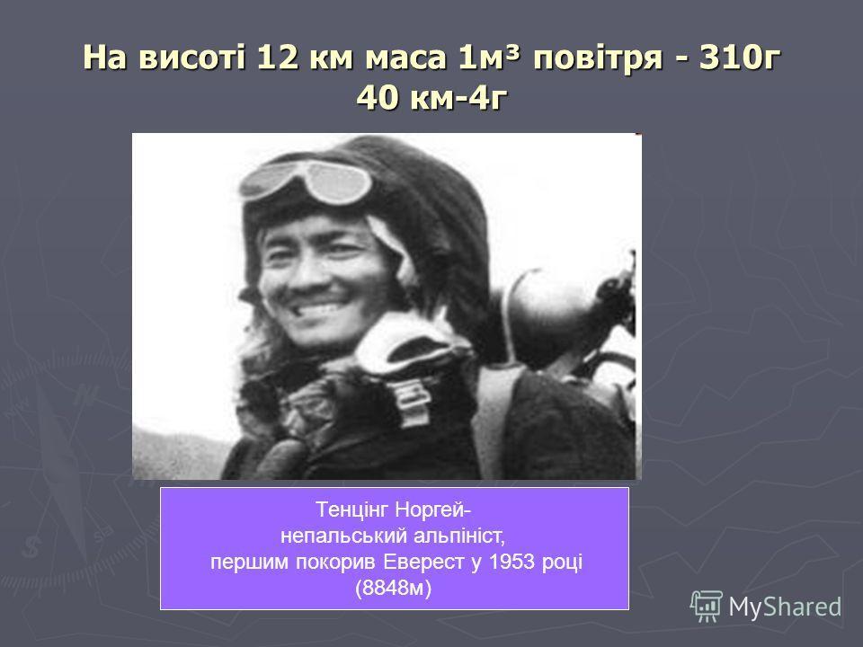 На висоті 12 км маса 1м³ повітря - 310г 40 км-4г Тенцінг Норгей- непальський альпініст, першим покорив Еверест у 1953 році (8848м)