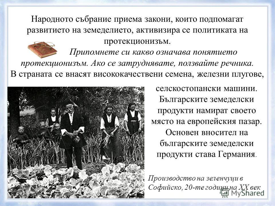 Народното събрание приема закони, които подпомагат развитието на земеделието, активизира се политиката на протекционизъм. Припомнете си какво означава понятието протекционизъм. Ако се затруднявате, ползвайте речника. В страната се внасят висококачест