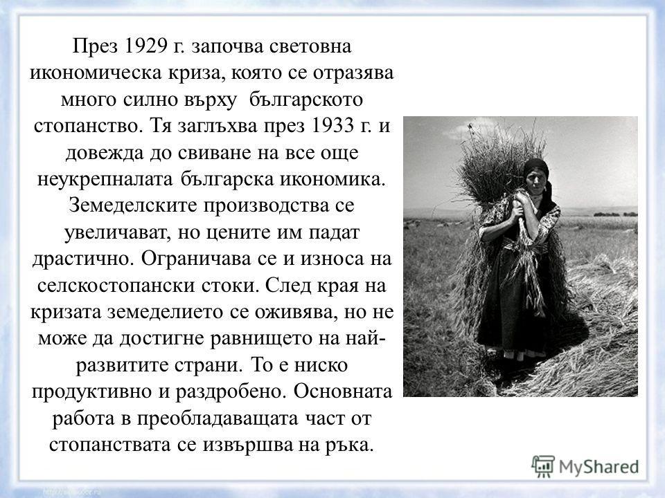 През 1929 г. започва световна икономическа криза, която се отразява много силно върху българското стопанство. Тя заглъхва през 1933 г. и довежда до свиване на все още неукрепналата българска икономика. Земеделските производства се увеличават, но цени