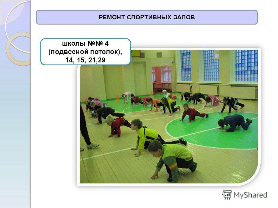 РЕМОНТ СПОРТИВНЫХ ЗАЛОВ школы 4 (подвесной потолок), 14, 15, 21,29
