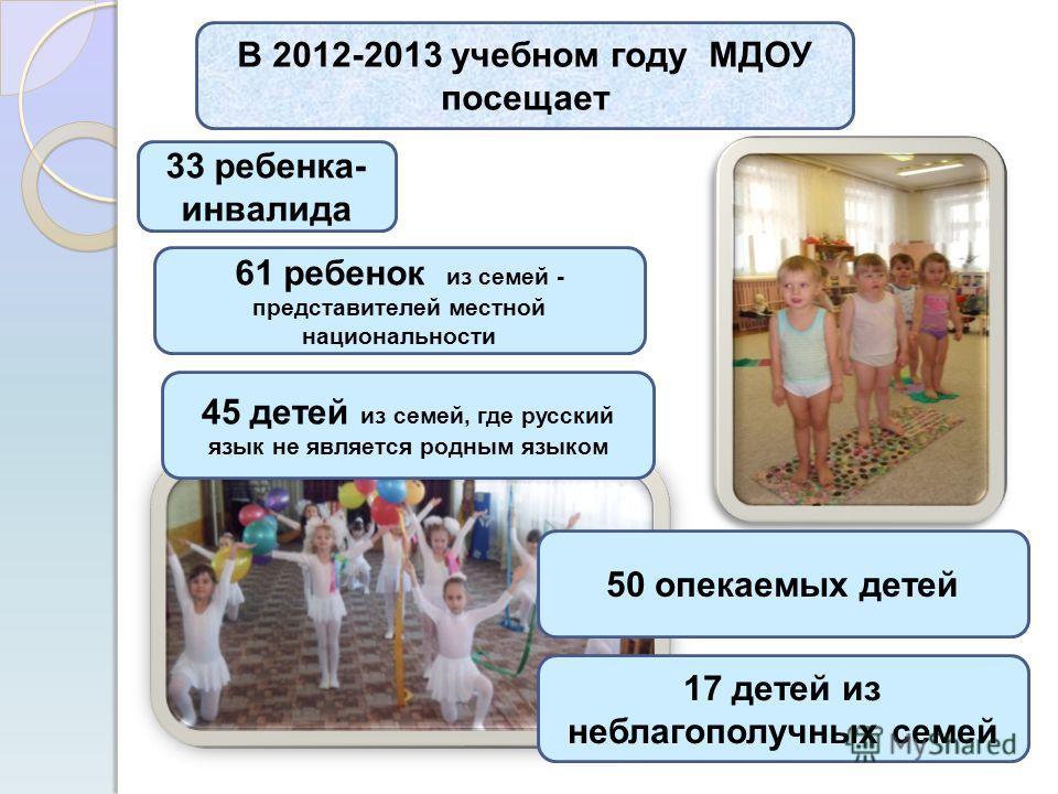 В 2012-2013 учебном году МДОУ посещает 61 ребенок из семей - представителей местной национальности 45 детей из семей, где русский язык не является родным языком 50 опекаемых детей 17 детей из неблагополучных семей 33 ребенка- инвалида