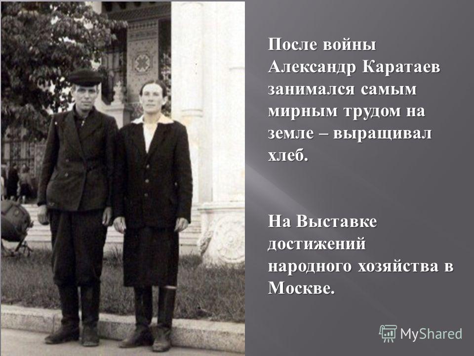 После войны Александр Каратаев занимался самым мирным трудом на земле – выращивал хлеб. На Выставке достижений народного хозяйства в Москве.