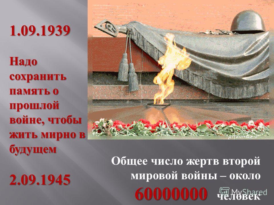 1.09.1939 Надо сохранить память о прошлой войне, чтобы жить мирно в будущем 2.09.1945 60000000 Общее число жертв второй мировой войны – около 60000000 человек