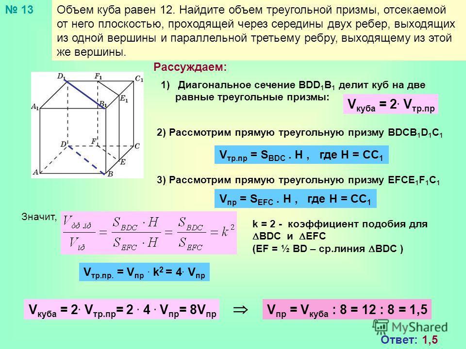 Объем куба равен 12. Найдите объем треугольной призмы, отсекаемой от него плоскостью, проходящей через середины двух ребер, выходящих из одной вершины и параллельной третьему ребру, выходящему из этой же вершины. Рассуждаем: 1)Диагональное сечение BD