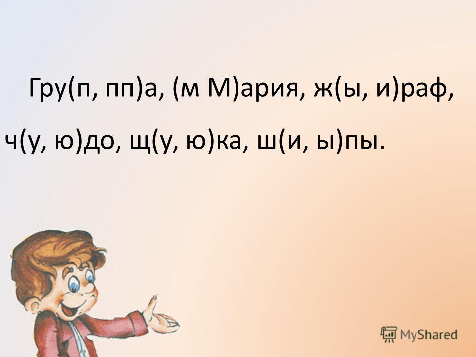 Гру(п, пп)а, (м М)ария, ж(ы, и)раф, ч(у, ю)до, щ(у, ю)ка, ш(и, ы)пы.
