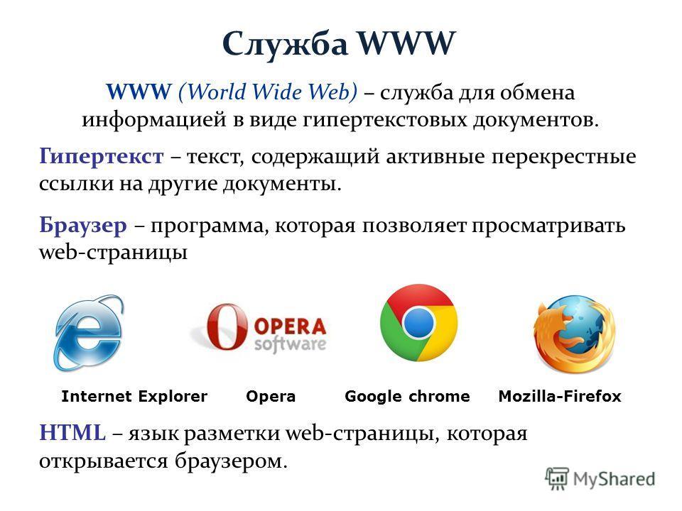 Служба WWW Гипертекст – текст, содержащий активные перекрестные ссылки на другие документы. Браузер – программа, которая позволяет просматривать web-страницы Internet Explorer Opera Google chrome Mozilla-Firefox HTML – язык разметки web-страницы, кот
