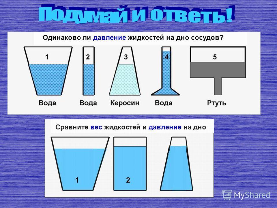 4. Имеются три одинаковых сосуда: первый наполнен водой, второй – ртутью, третий – бензином. В каком из этих сосудов наибольшее давление на дно? 4. Имеются три одинаковых сосуда: первый наполнен водой, второй – ртутью, третий – бензином. В каком из э