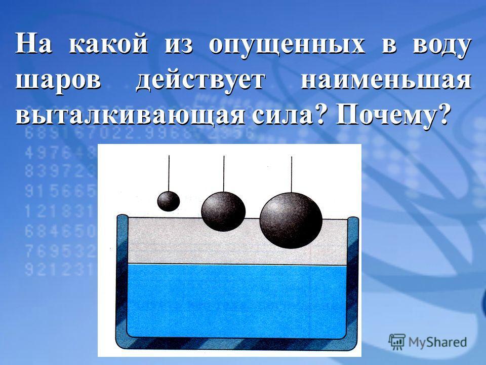 На какой из опущенных в воду шаров действует наименьшая выталкивающая сила? Почему?