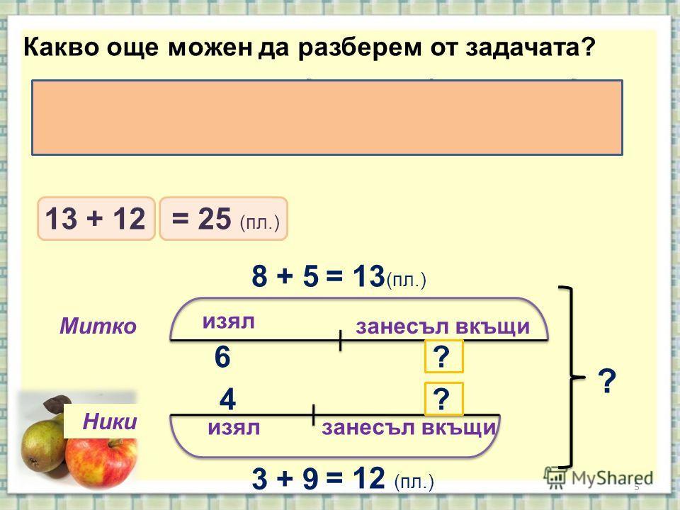 5 изял занесъл вкъщи Митко Ники Какво още можен да разберем от задачата? 8 + 5= 13 (пл.) 3 + 9 = 12 (пл.) 6 4 ? ? ? Колко всичко плодове набрали заедно момчетата? 13 + 12= 25 (пл.)