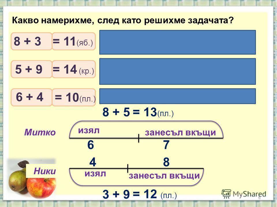 6 изял занесъл вкъщи Митко Ники Какво намерихме, след като решихме задачата? 8 + 5= 13 (пл.) 3 + 9 = 12 (пл.) 6 4 7 8 Колко ябълки набрали заедно момчетата? Колко круши набрали заедно момчетата? Колко плодове изяли децата? 8 + 3 5 + 9 6 + 4 = 11 (яб.