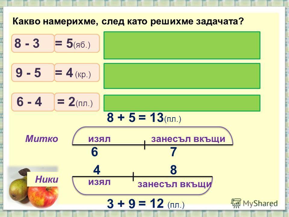 7 изял занесъл вкъщи Митко Ники Какво намерихме, след като решихме задачата? 8 + 5= 13 (пл.) 3 + 9 = 12 (пл.) 6 4 7 8 С колко повече ябълки набрал Митко? С колко круши повече набрал Ники? Кой изял повече? С колко? 8 - 3 9 - 5 6 - 4 = 5 (яб.) = 4 (кр.