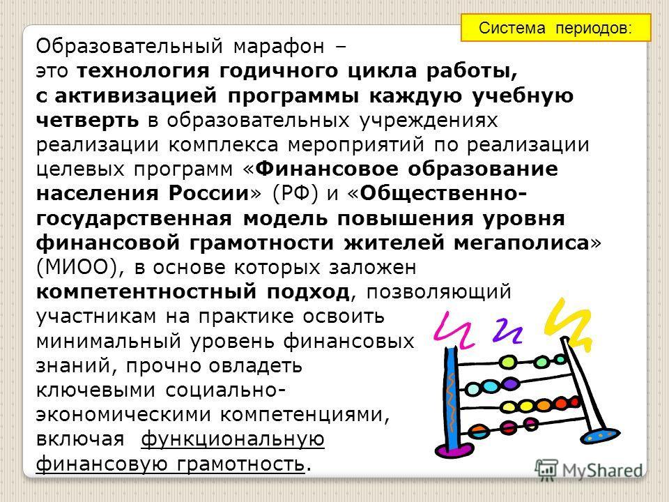 Образовательный марафон – это технология годичного цикла работы, с активизацией программы каждую учебную четверть в образовательных учреждениях реализации комплекса мероприятий по реализации целевых программ «Финансовое образование населения России»