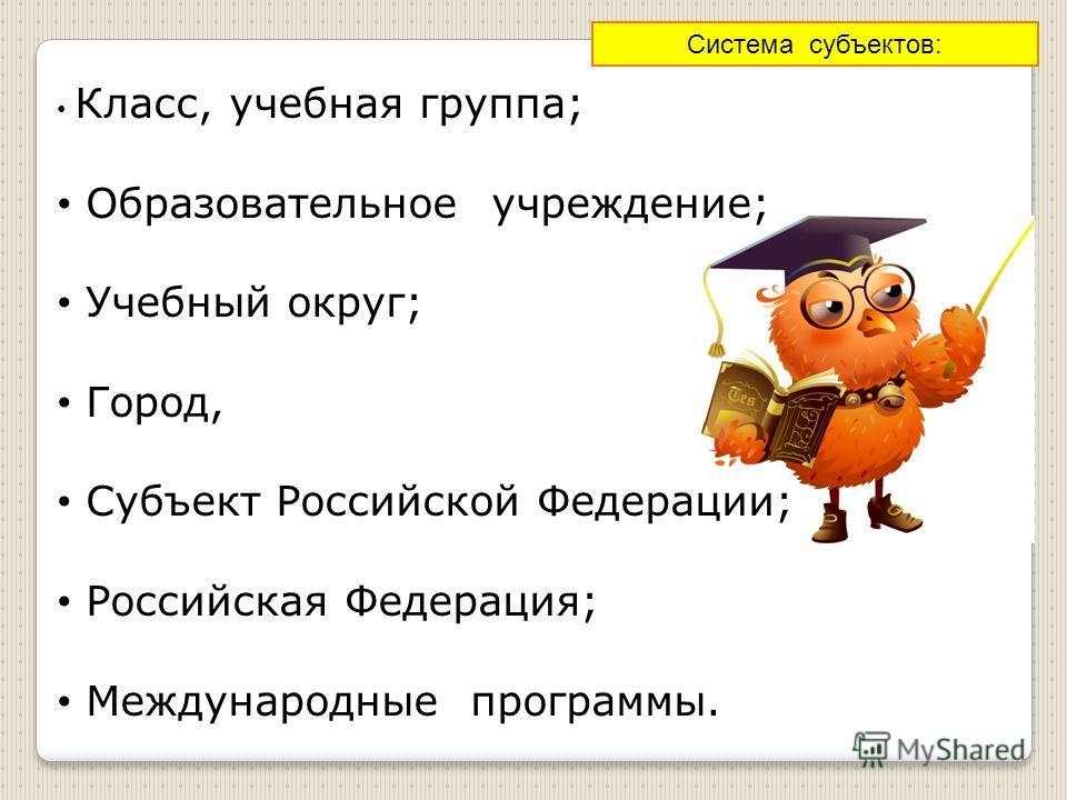 Класс, учебная группа; Образовательное учреждение; Учебный округ; Город, Субъект Российской Федерации; Российская Федерация; Международные программы. Система субъектов: