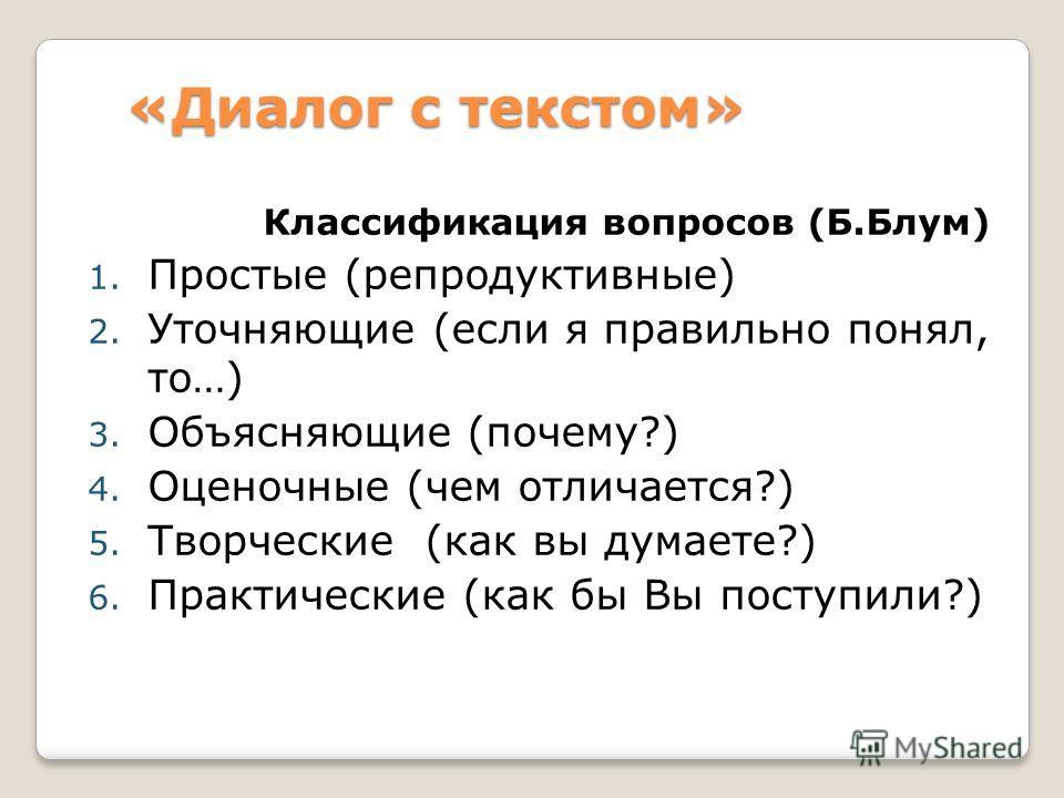 «Диалог с текстом» Классификация вопросов (Б.Блум) 1. Простые (репродуктивные) 2. Уточняющие (если я правильно понял, то…) 3. Объясняющие (почему?) 4. Оценочные (чем отличается?) 5. Творческие (как вы думаете?) 6. Практические (как бы Вы поступили?)
