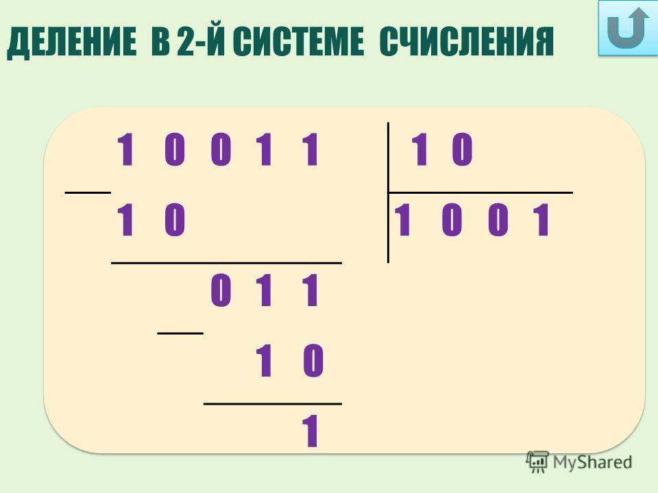 ДЕЛЕНИЕ В 2-Й СИСТЕМЕ СЧИСЛЕНИЯ 1001110 101001 011 10 1