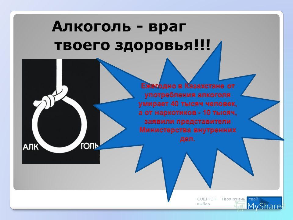 Алкоголь - враг твоего здоровья!!! СОШ-ГЭН. Твоя жизнь- твой выбор.