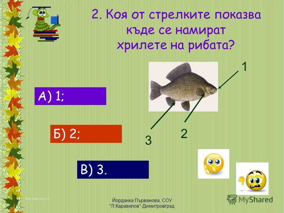 2. Коя от стрелките показва къде се намират хрилете на рибата? А) 1; Б) 2; В) 3. 1 2 3