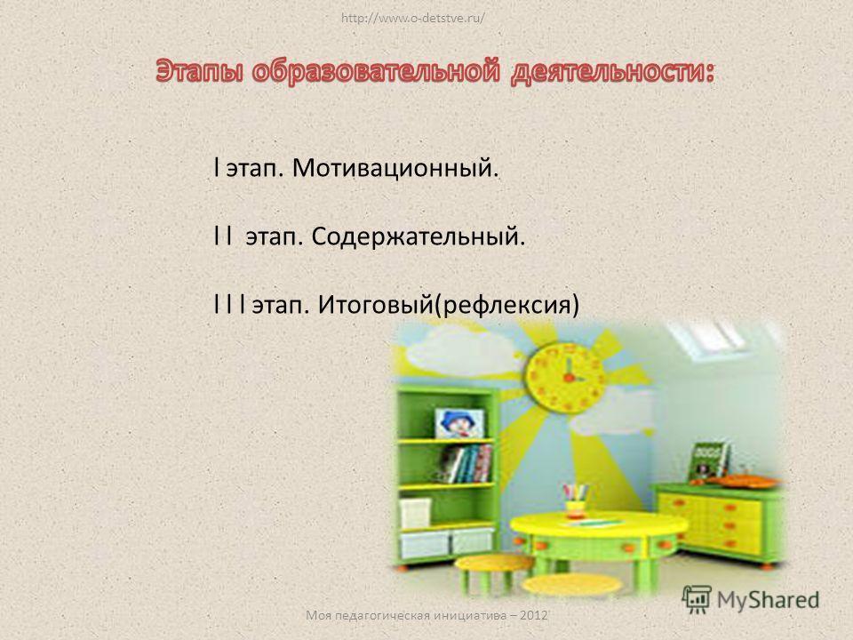 l этап. Мотивационный. l l этап. Содержательный. l l l этап. Итоговый(рефлексия) http://www.o-detstve.ru/ Моя педагогическая инициатива – 2012