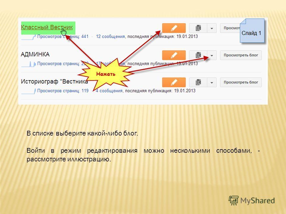 В списке выберите какой-либо блог. Войти в режим редактирования можно несколькими способами, - рассмотрите иллюстрацию.