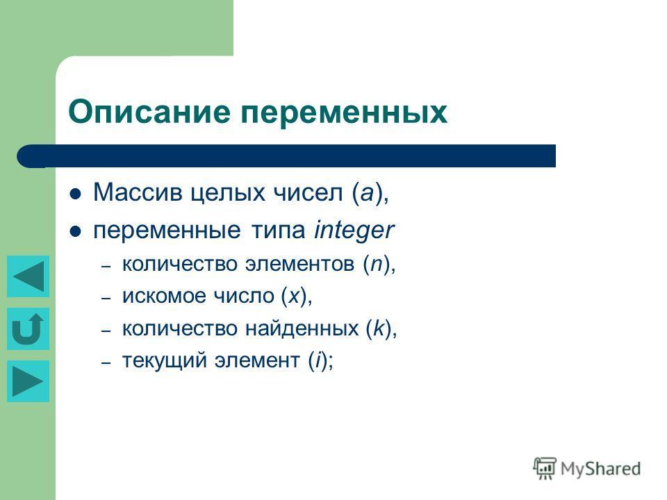 Описание переменных Массив целых чисел (а), переменные типа integer – количество элементов (n), – искомое число (x), – количество найденных (k), – текущий элемент (i);