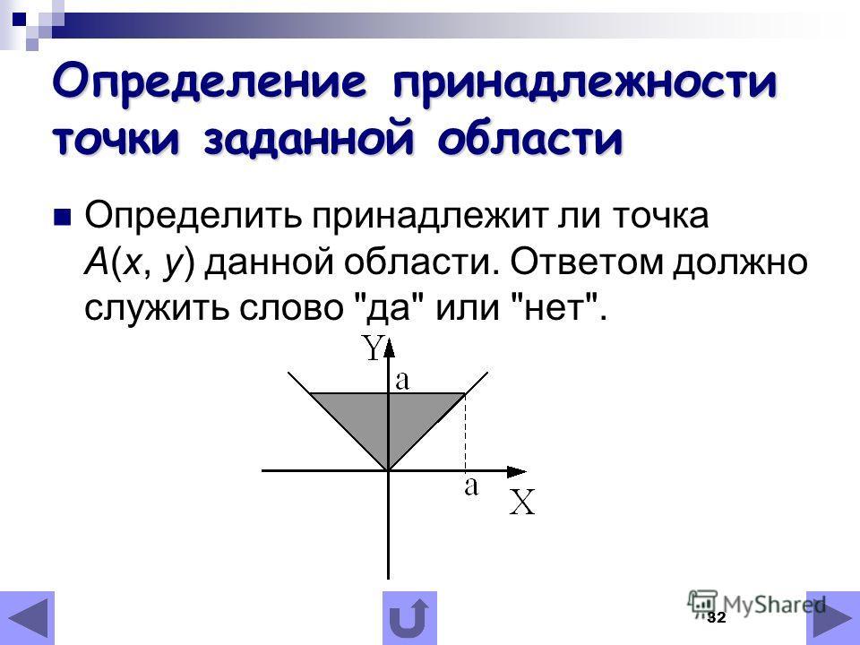 32 Определение принадлежности точки заданной области Определить принадлежит ли точка А(x, у) данной области. Ответом должно служить слово да или нет.