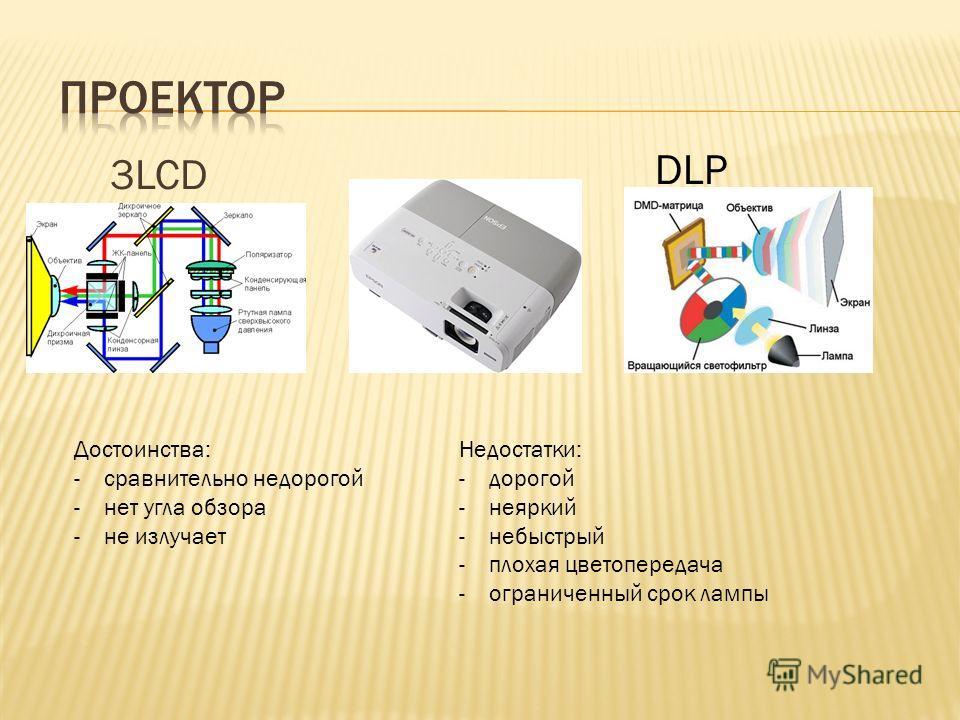 3LCD Достоинства: -сравнительно недорогой -нет угла обзора -не излучает Недостатки: -дорогой -неяркий -небыстрый -плохая цветопередача -ограниченный срок лампы DLP