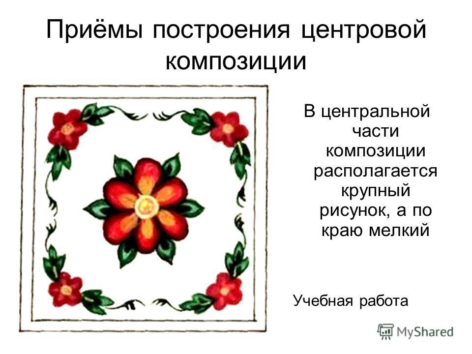 В центральной части композиции располагается крупный рисунок, а по краю мелкий Учебная работа