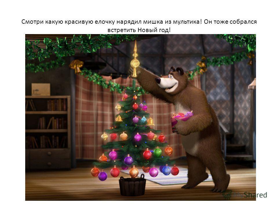 Смотри какую красивую елочку нарядил мишка из мультика! Он тоже собрался встретить Новый год!
