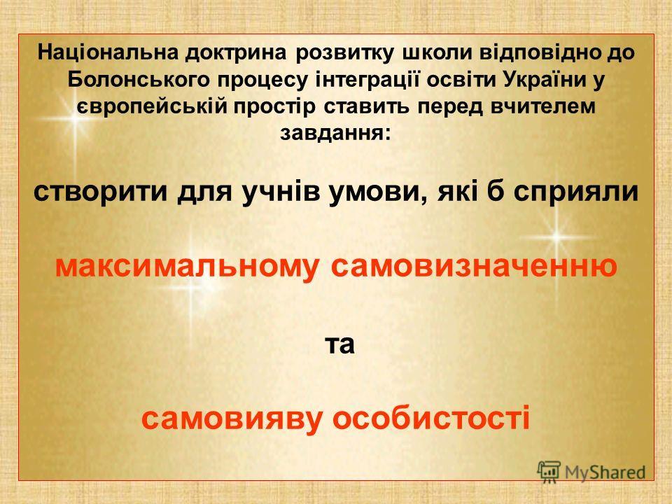 Національна доктрина розвитку школи відповідно до Болонського процесу інтеграції освіти України у європейській простір ставить перед вчителем завдання: створити для учнів умови, які б сприяли максимальному самовизначенню та самовияву особистості