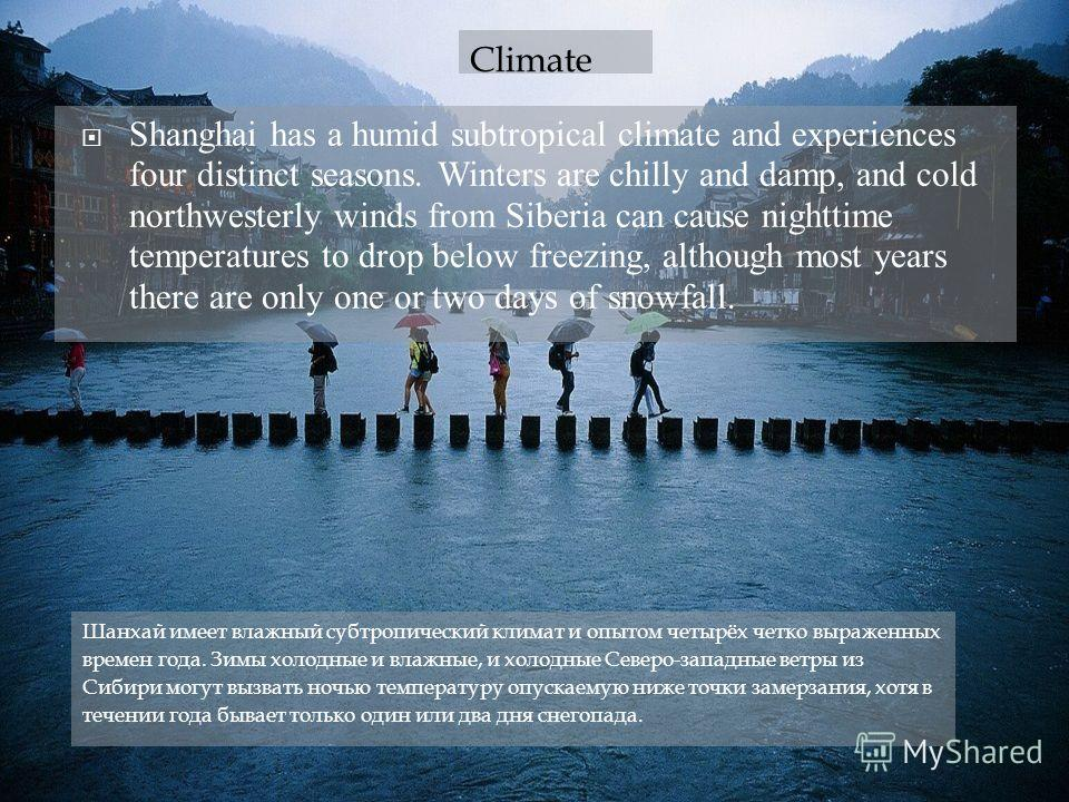 18.12.12 Shanghai has a humid subtropical climate and experiences four distinct seasons. Winters are chilly and damp, and cold northwesterly winds from Siberia can cause nighttime temperatures to drop below freezing, although most years there are onl