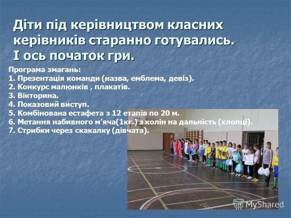 Діти під керівництвом класних керівників старанно готувались. І ось початок гри. Програма змагань: 1. Презентація команди (назва, емблема, девіз). 2. Конкурс малюнків, плакатів. 3. Вікторина. 4. Показовий виступ. 5. Комбінована естафета з 12 етапів п