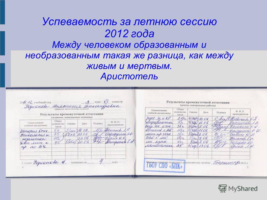 Успеваемость за летнюю сессию 2012 года Между человеком образованным и необразованным такая же разница, как между живым и мертвым. Аристотель