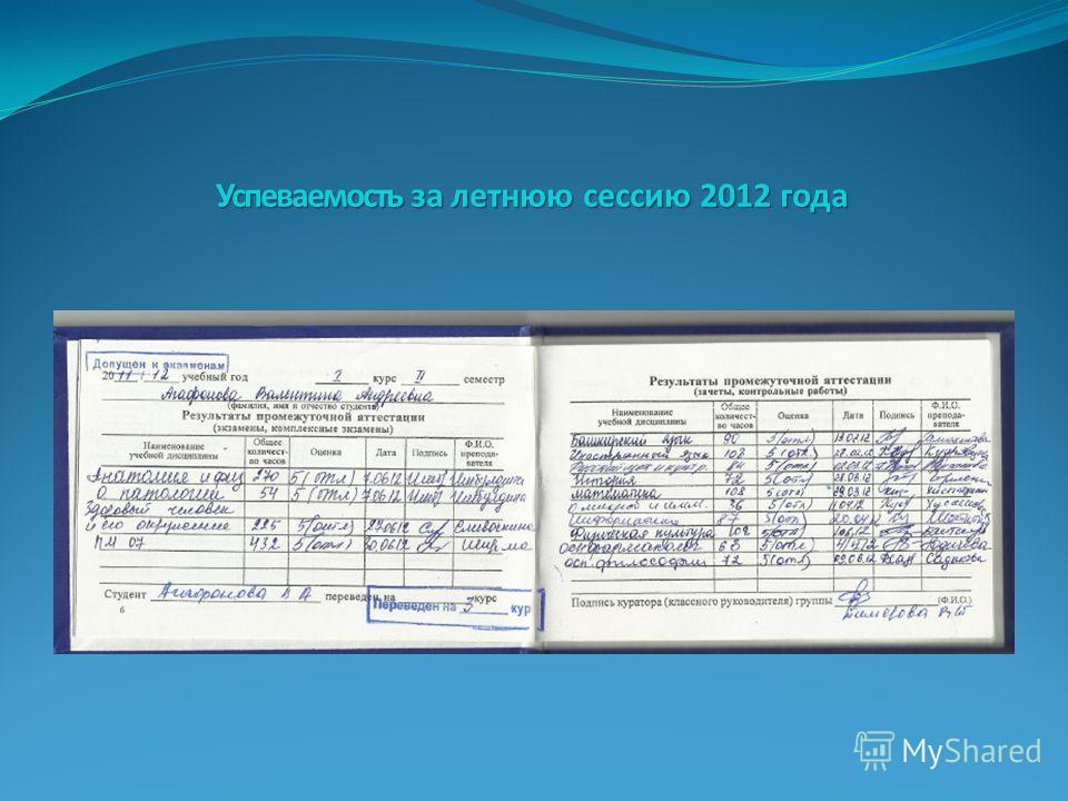 Успеваемость за летнюю сессию 2012 года
