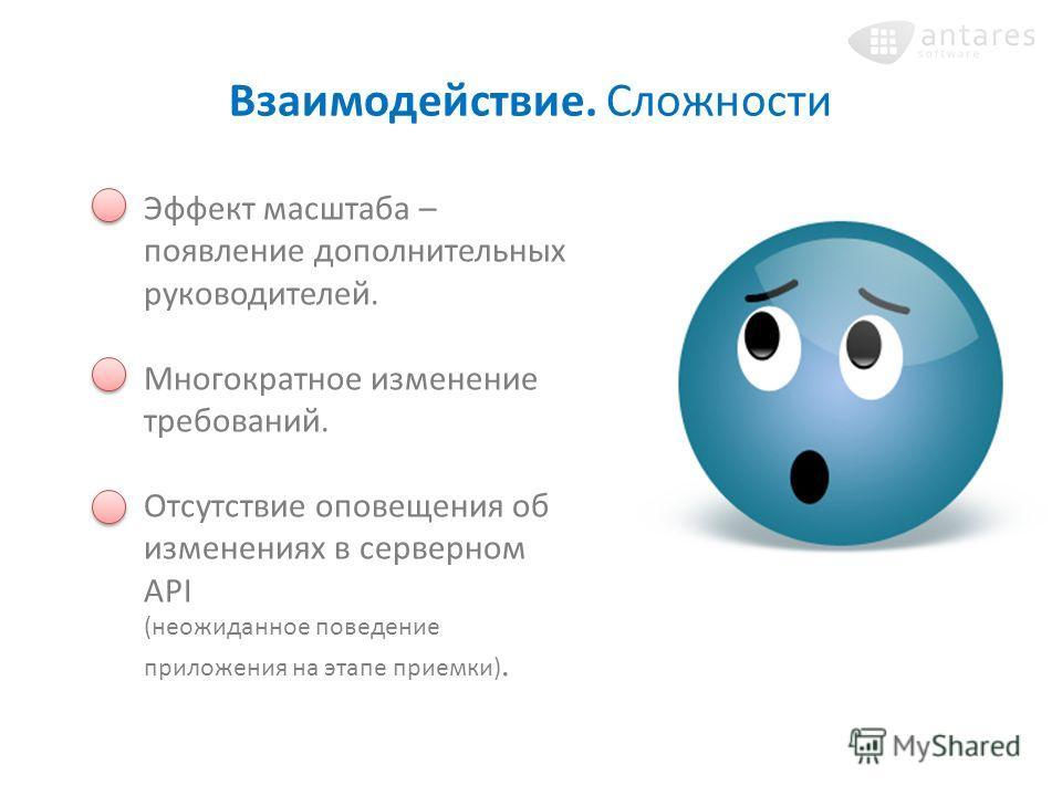 Взаимодействие. Сложности Эффект масштаба – появление дополнительных руководителей. Многократное изменение требований. Отсутствие оповещения об изменениях в серверном API (неожиданное поведение приложения на этапе приемки).