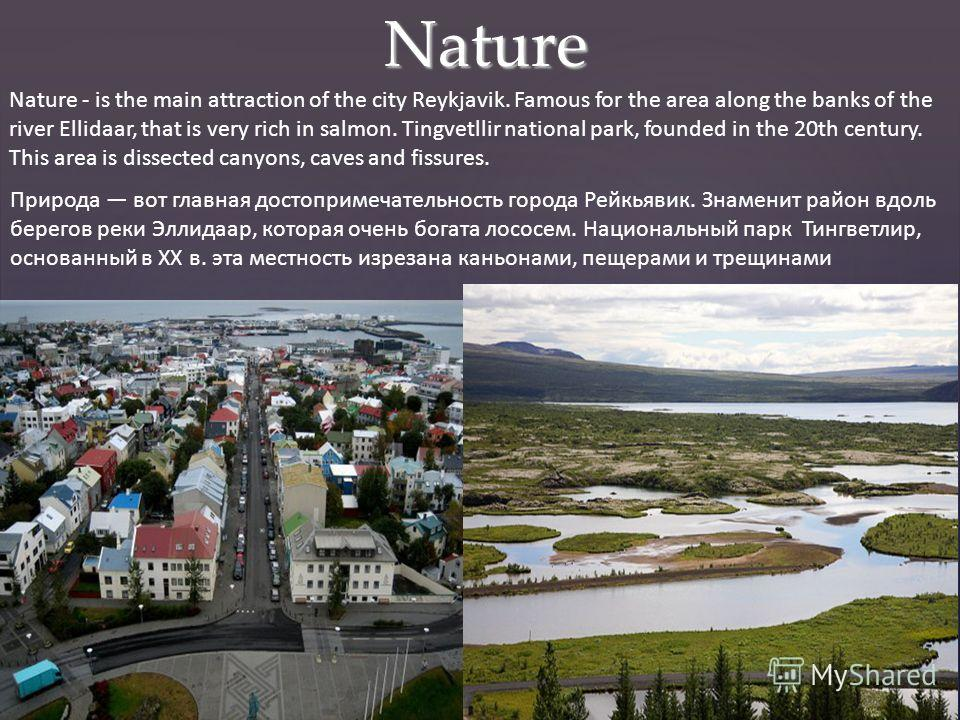 Nature Nature - is the main attraction of the city Reykjavik. Famous for the area along the banks of the river Ellidaar, that is very rich in salmon. Tingvetllir national park, founded in the 20th century. This area is dissected canyons, caves and fi
