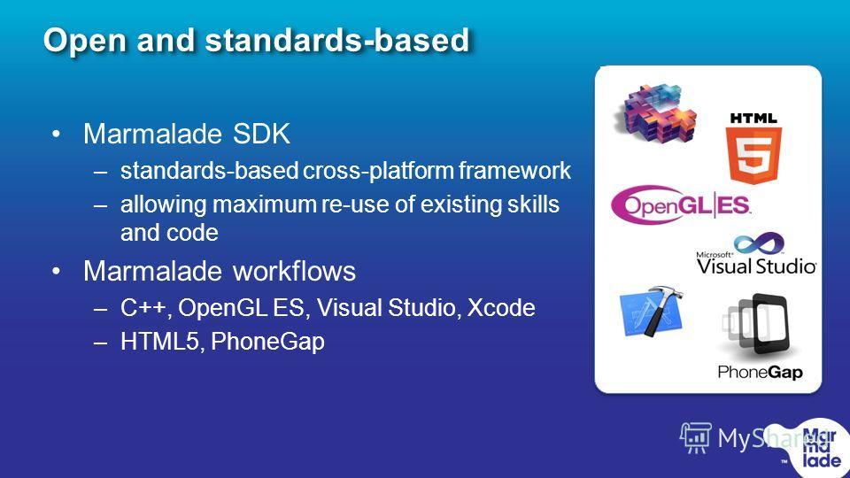 Open and standards-based Marmalade SDK –standards-based cross-platform framework –allowing maximum re-use of existing skills and code Marmalade workflows –C++, OpenGL ES, Visual Studio, Xcode –HTML5, PhoneGap