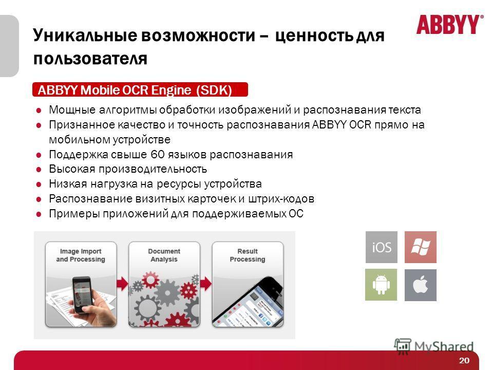 20 Уникальные возможности – ценность для пользователя Мощные алгоритмы обработки изображений и распознавания текста Признанное качество и точность распознавания ABBYY OCR прямо на мобильном устройстве Поддержка свыше 60 языков распознавания Высокая п