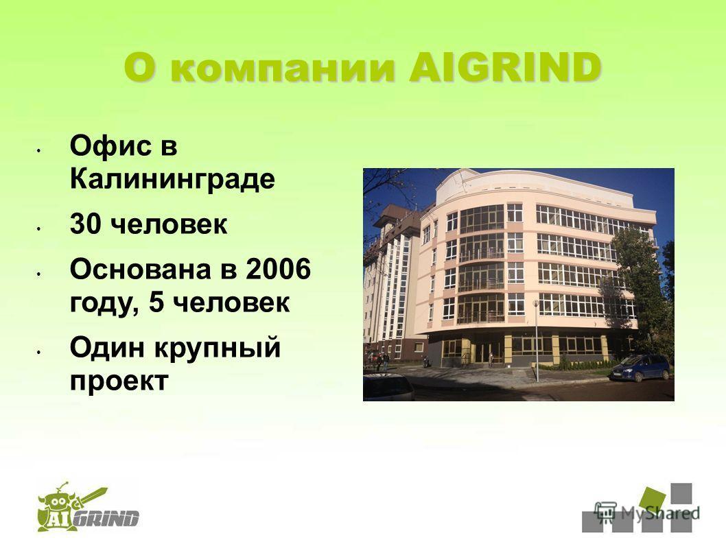 О компании AIGRIND Офис в Калининграде 30 человек Основана в 2006 году, 5 человек Один крупный проект